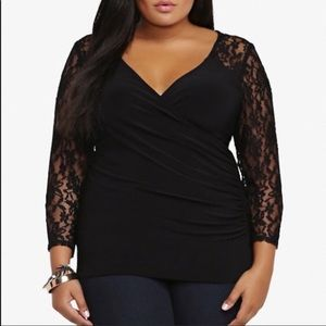 Torrid Lace Back Surplice Black Top